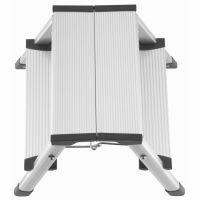 Scara aluminiu dubla KD Home®, 2x2 trepte, inaltime 40.4 cm, pliabila, cu sistem de blocare si trepte antiderapante, gri