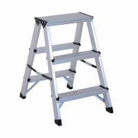Scara aluminiu dubla KD Home®, 2x3 trepte, inaltime 60.6 cm, pliabila, cu sistem de blocare si trepte antiderapante, gri