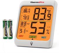 Resigilat Termometru si higrometru de camera ThermoPro TP-53 Pro, ecran 3 inch, lumina, touch, indicator comfort, citire 10s, 3 tipuri de montare, gama profesionala, alb