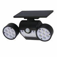 Resigilat Lampa solara tripla Huerler™ 30 LED-uri HS-010, 800 lumeni, panou solar polisiliciu, rezistena la apa, senzor de miscare si lumina, unghi luminare 120 grade, 2200mAh, negru