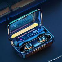 Resigilat Casti bluetooth Runmus® EarBuds F9-10, wireless, handsfree, BT 5.0, carcasa cu afisaj 3 x LED si capacitate de incarcare telefon 1200mAh, control Touch muzica/volum/refuz/raspuns, incarcare magnetica, compatibil universal, functie reducere zgom
