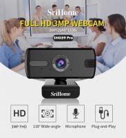 Resigilat Camera web, SriHome™ SH004 Pro, Extra FullHD 3MP, unghi 110 grade, 30FPS, scoala online, anulare zgomot de fond, rotire, plug & play,  negru