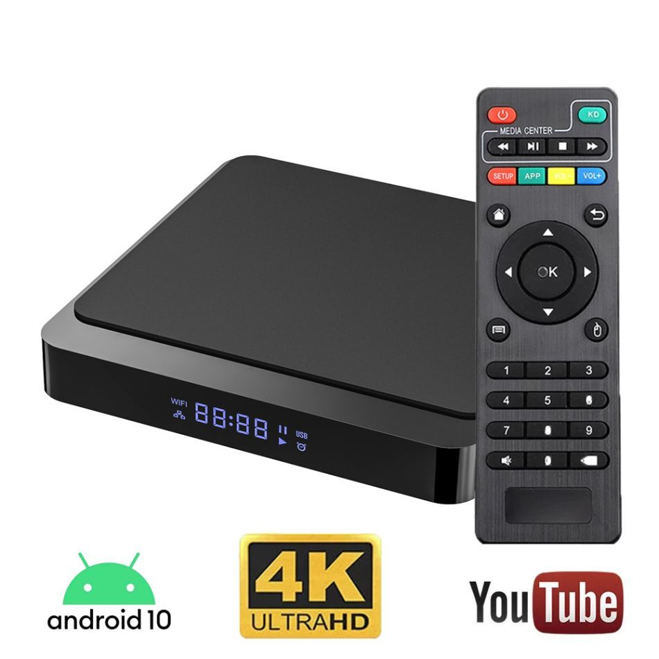 Resigilat Mini PC TV Smart Box Runmus® X3 H313, Android 10, 4K, dual WI-FI, Quad core ARM Cortex-A53, tehnologie HDR, DDR3 2GB RAM, HDMI, memorie 16GB, BT 4.1, nstalare aplicatii PlayStore, Youtube, Netflix, filme, seriale, negru