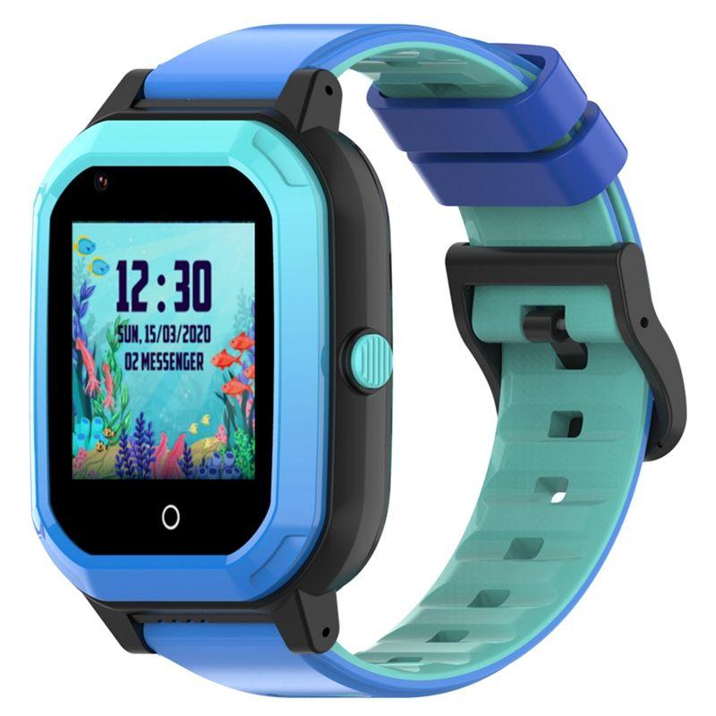 Ceas smartwatch GPS copii Techone™ KT20 4G, 1.4 inch OGS, apel video, camera ultrapixel, Wi-Fi, rezistent la apa IP67, telefon, bluetooth, SOS, touchscreen, monitorizare spion, carcasa detasabila, Albastru