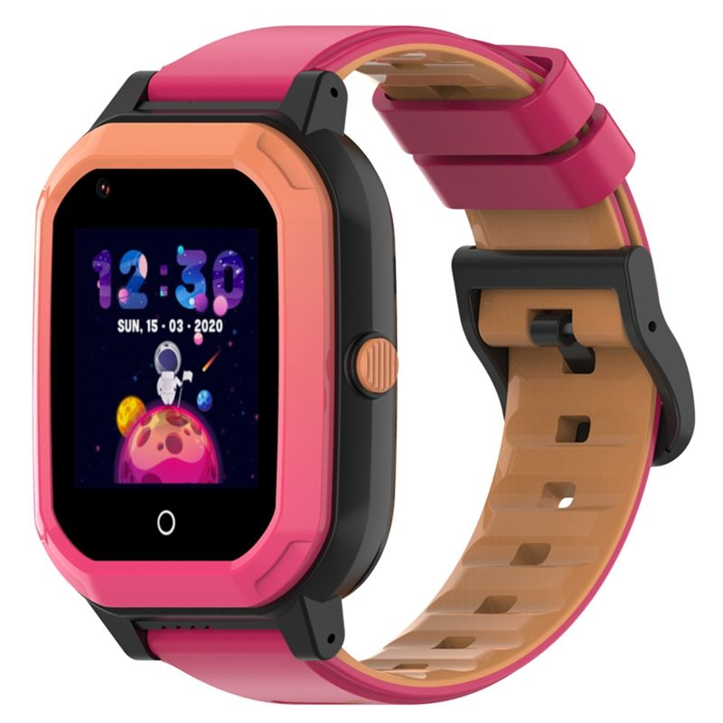 Ceas smartwatch GPS copii Techone™ KT20 4G, 1.4 inch OGS, apel video, camera ultrapixel, Wi-Fi, rezistent la apa IP67, telefon, bluetooth, SOS, touchscreen, monitorizare spion, carcasa detasabila, Roz