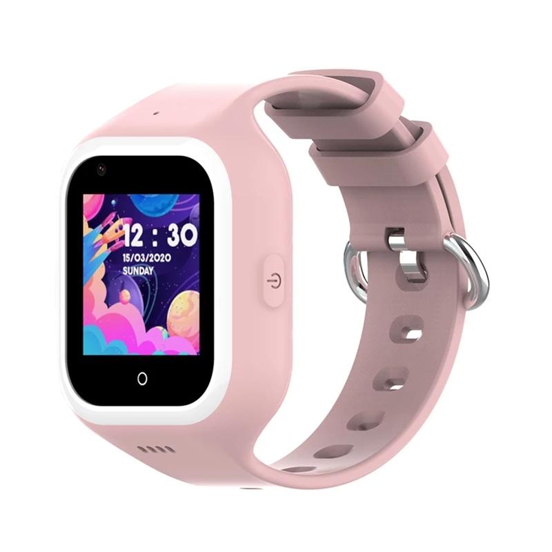 Ceas smartwatch GPS copii Techone™ KT21 4G, 1.4 inch OGS, apel video, camera ultrapixel, Wi-Fi, rezistent la apa IP67, telefon, bluetooth, SOS, touchscreen, monitorizare spion, carcasa detasabila, Roz
