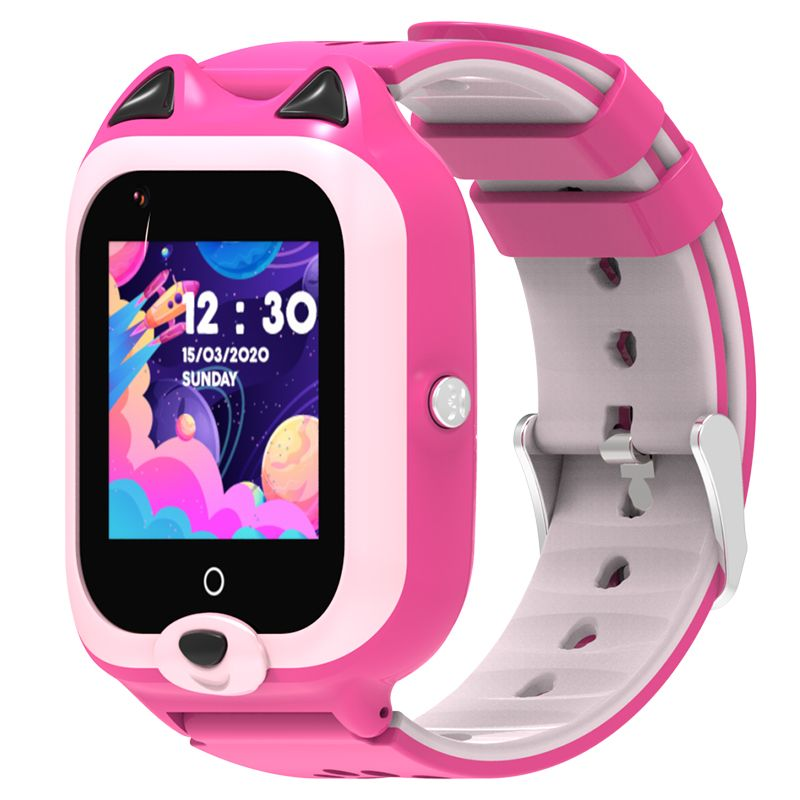 Ceas smartwatch GPS copii Techone™ KT22 4G, 1.4 inch OGS, apel video, camera ultrapixel, Wi-Fi, rezistent la apa IP67, telefon, bluetooth, SOS, touchscreen, monitorizare spion, carcasa detasabila, Roz