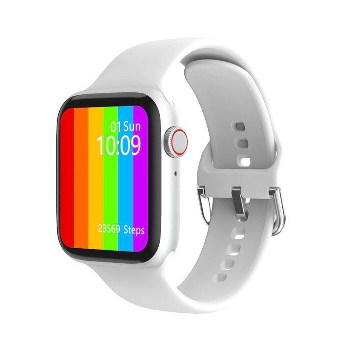 Ceas smartwatch TechONE™ W26, 1.75 inch IPS, multi sport, apel bluetooth, ritm cardiac, oxigen, temperatura, rezistent la apa, notificari, senzor Bosch, alb