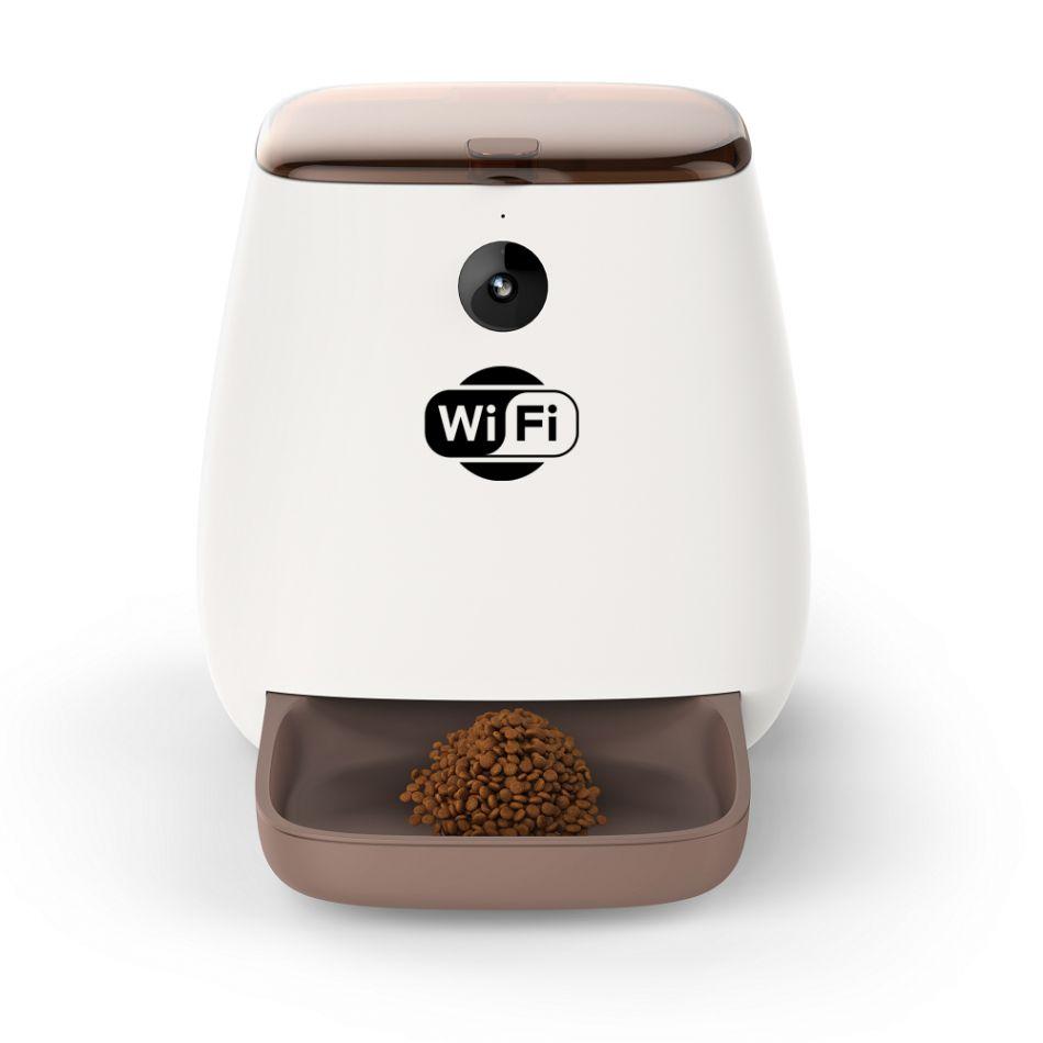 Hranitor automat WiFi Grunluft® PP001, pentru caini sau pisici, functie adapator, camera video Full HD, sunet hranire, control aplicatie, programabil, alb