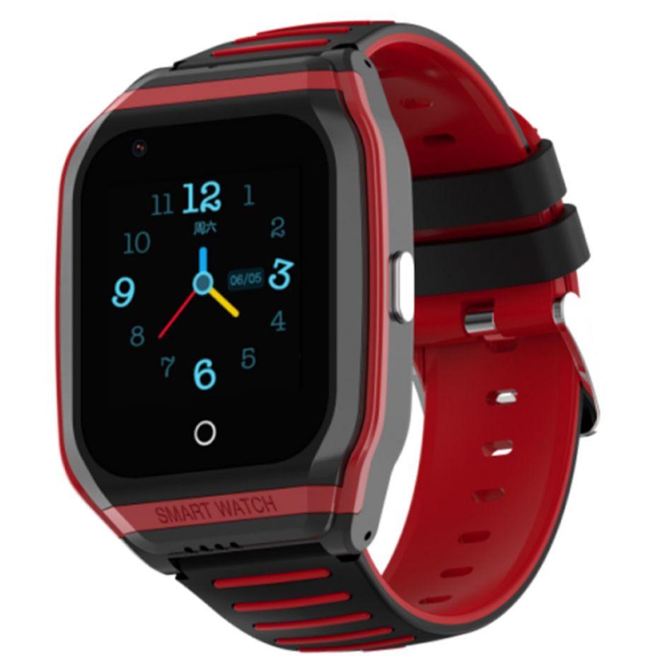Ceas smartwatch GPS copii Techone™ TKY FG02 4G, 1.4 inch, apel video, camera HD, Android, buton SOS, bluetooth, wifi, rezistent la apa, blocare apel, monitorizare spion, negru/rosu