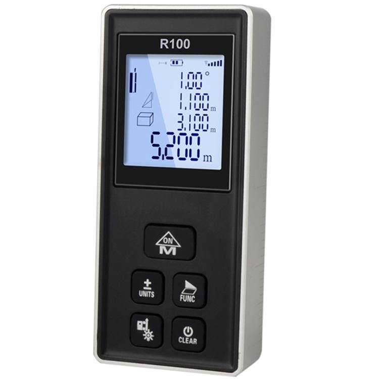 Telemetru laser profesional Thinrad® R100, 100m, metalic, functie boloboc, portabil, display, acuratete +/- 1.5mm, calcul suprafata, volum, alb