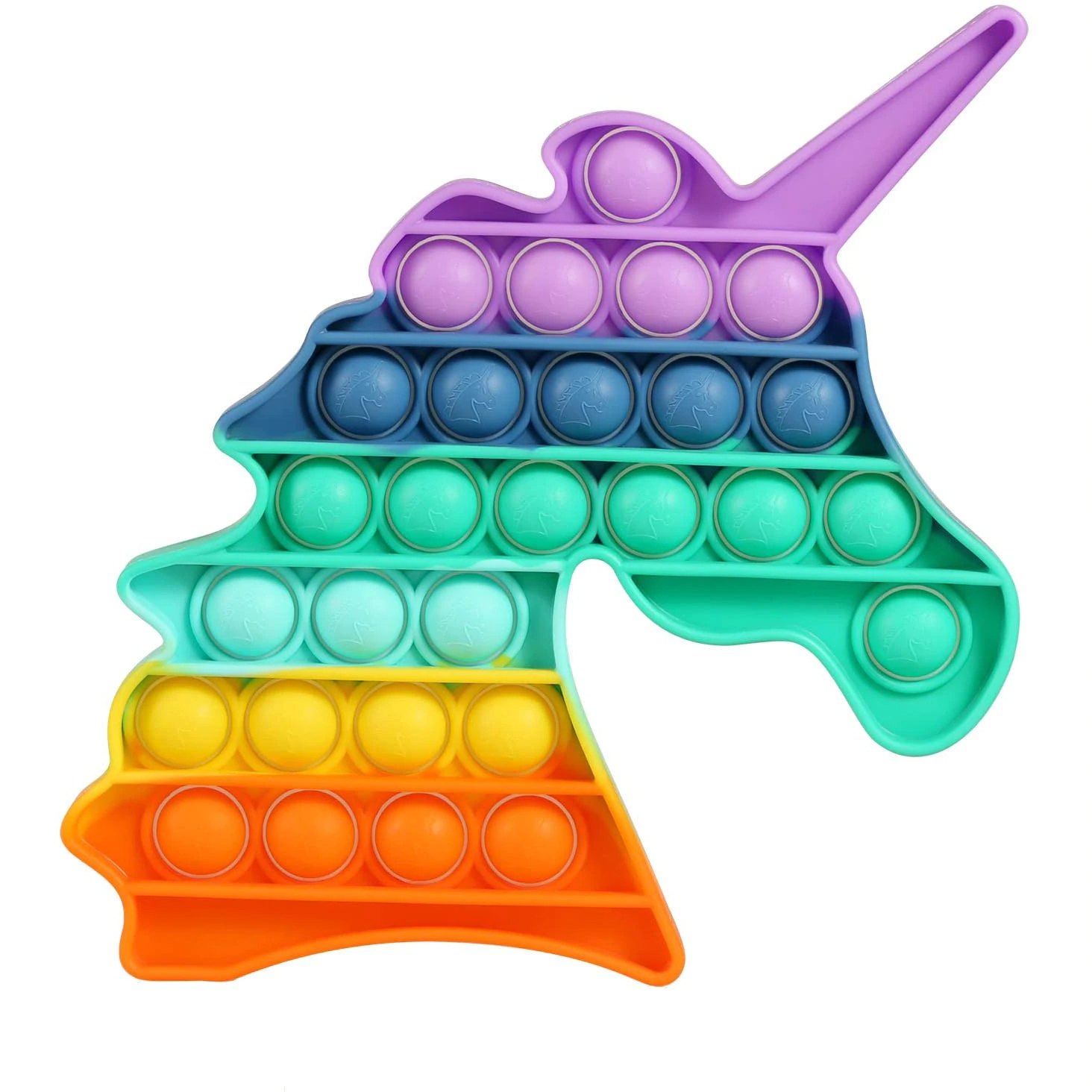 Jucarie antistres din silicon JAF®, Pop it now, forma unicorn, 21x12.5x1.5 cm, multicolor