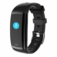 Bratara fitness TechONE™ FitGear CD09, color, IP67, puls dinamic, tensiune, notificari, negru