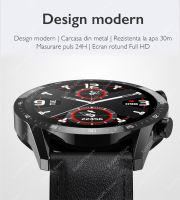 Ceas smartwatch TechONE™ T30, 1.3 inch HD, multi sport, apel bluetooth, ritm cardiac, oxigen, rezistent la apa, notificari, vibratii, senzor Bosch, negru//portocaliu
