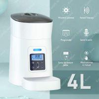 Hranitor automat Grunluft® PP002, pentru caini sau pisici, functie adapator, sunet hranire, programabil, sursa alimentare dubla, alb