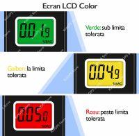 Alcool tester Techone® AMS012, etilotest, functie memorie, acuratete +/- 0.01% BAC, display LCD 3 culori, calibrare 300 teste, 10 mustiuc-uri, negru