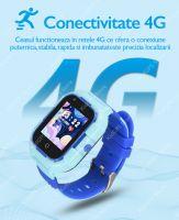 Ceas smartwatch GPS copii Techone™ TKY-FG12 4G, 1.4 inch, apel video, camera HD, Android, buton SOS, bluetooth, wifi, rezistent la apa, blocare apel, monitorizare spion, roz