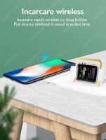 Incarcator wireless 2 in 1 Loowoko™Q900 Magsafe, 15W Fast Charge, magnetic, incarcare prin husa, pentru Apple iPhone 12/12 Pro/12 Pro Max/12 Mini si Apple Watch, Alb
