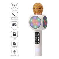 Resigilat Microfon karaoke Thinrad™ KF500, cu boxa bluetooth incorporata, leduri colorate, functie radio, inregistrare pe card, ecou, conectare la telefon, USB, Aux, Crem