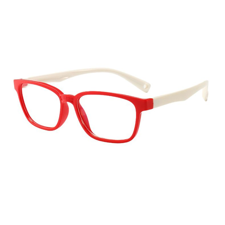 Ochelari de protectie calculator, Techone® F8140, din silicon, flexibili, blocare lumina albastra, pentru jocuri, PC, TV , anti-oboseala si strlucire UV, pentru copii, rosu/alb
