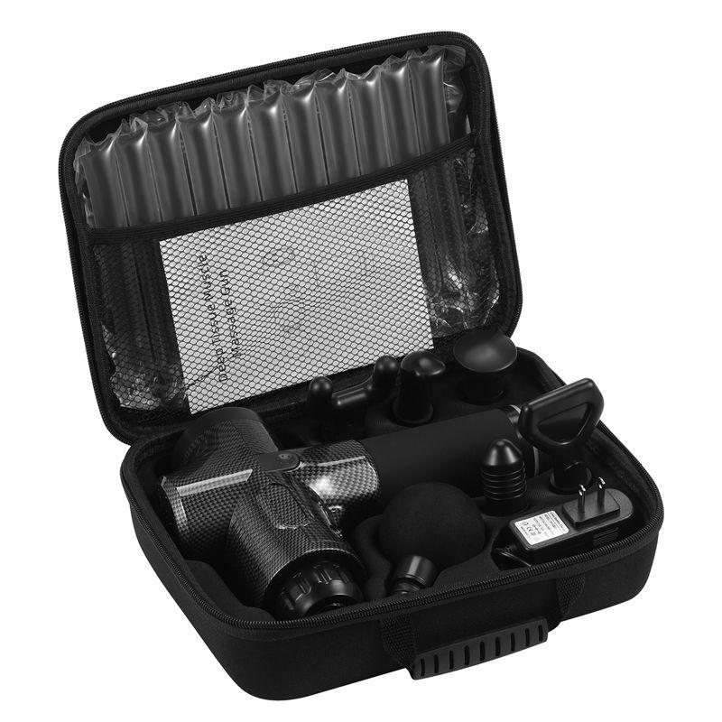 Aparat pentru masaj profesional tip pistol Horigen® Techone Power Pro V1, 30 viteze, motor silentios fara perii, 3200 percutii, sistem racire, 2500mAh, 6 capete, servieta, carbon