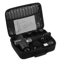 Aparat pentru masaj profesional tip pistol Horigen® Power Pro V1, 30 viteze, motor silentios fara perii, 3200 percutii, sistem racire, 2500mAh, 6 capate, servieta depozitare, negru carbon
