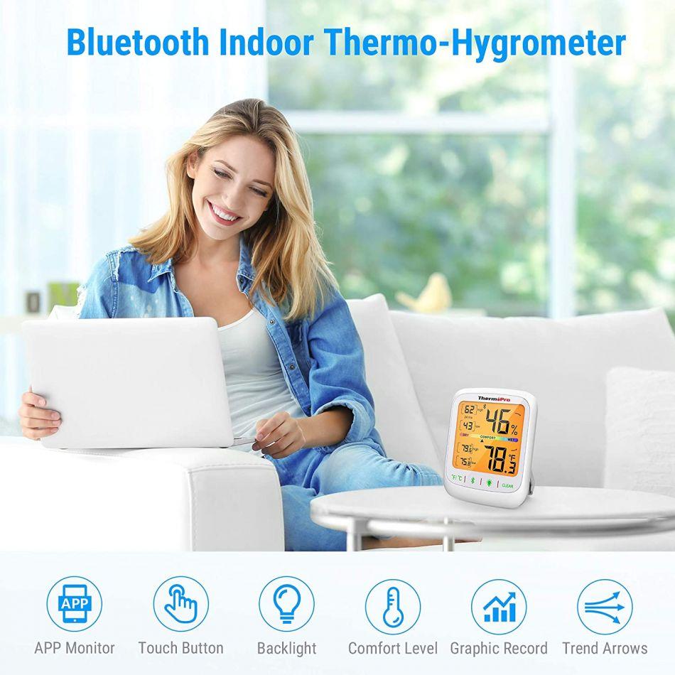 Termometru si higrometru de camera ThermoPro TP-59 Pro, bluetooth, ecran 3 inch, lumina, touch, indicator comfort, citire 10s, 3 tipuri de montare, gama profesionala, alb