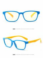 Ochelari de protectie calculator, Techone® F8140, din silicon, flexibili, blocare lumina albastra, pentru jocuri, PC, TV , anti-oboseala si strlucire UV, pentru copii, albastru/galben