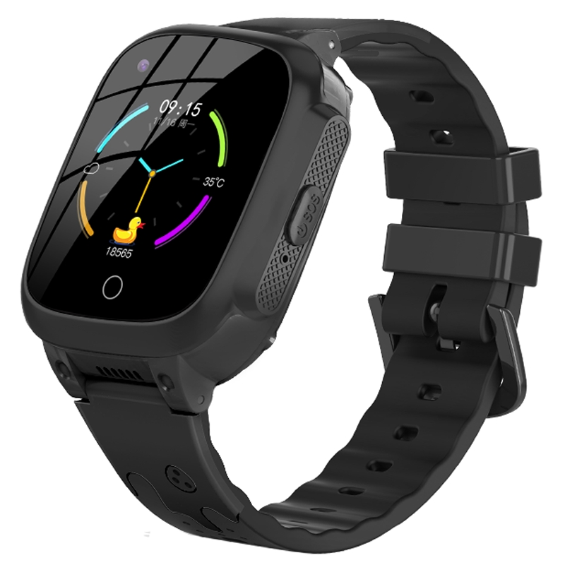 Ceas smartwatch GPS copii Techone™ LT25 4G, 1.4 inch, temperatura copil, apel video, camera HD, Android, buton SOS, bluetooth, wifi, rezistent la apa, blocare apel, monitorizare spion, Negru