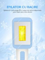 Epilator IPL Horigen® T012C, functie Ice Cool cu racire, suprafata lampa 4 cm, 48W, epilare si intinerire piele/acnee, 5 viteze, tub lumina quarz, mod automat si manual, epilare definitiva, senzor nuanta piele, alb