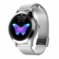 Ceas smartwatch TechONE™ KW10, pentru femei, monitorizare ciclu menstrual, ritm cardiac, pedometru, sedentarism, somn, notificari instant, bratara metalica, rezistent la apa ip68, vibratii, multi sport, argintiu