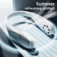 Mini ventilator portabil pentru gat, KD Home® F60, 3 trepte de viteza, USB, pana la 16 ore de functionare, acumulator 4000 mAh, putere 5W, flexibil, alb