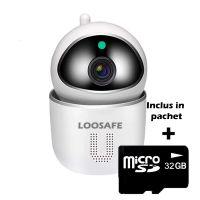 Camera de supraveghere WIFI Loosafe® U1, compatibila Google Home si Alexa, exterior / interior, Full HD, 4X zoom, sunet bidirectional, rotire, stocare card/cloud, senzor miscare, alb