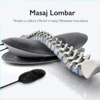 Aparat masaj lombar Techone® Lombar Care, cu perna de aer, incalzire, telecomanda, vibratii, gri