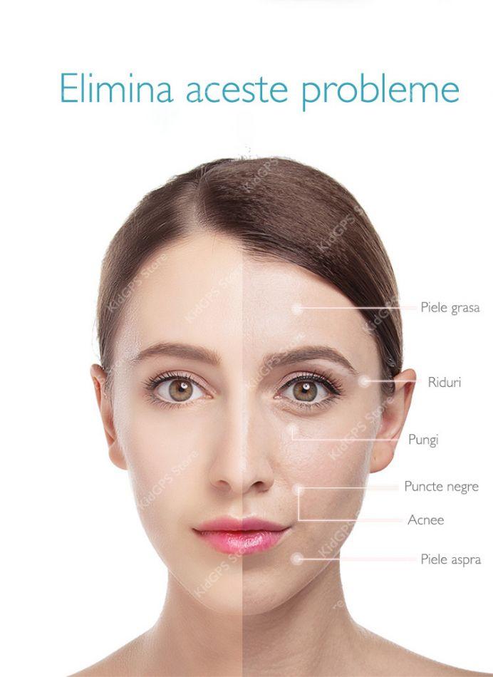 Aparat pentru intinerirea pielii 7 in 1 Horigen™ D919, anti rid, tratament RF, cu ioni, lumina LED, anti rid, curatare machiaj, acnee, racire, albire, fata si gat, saculet depozitare, Alb