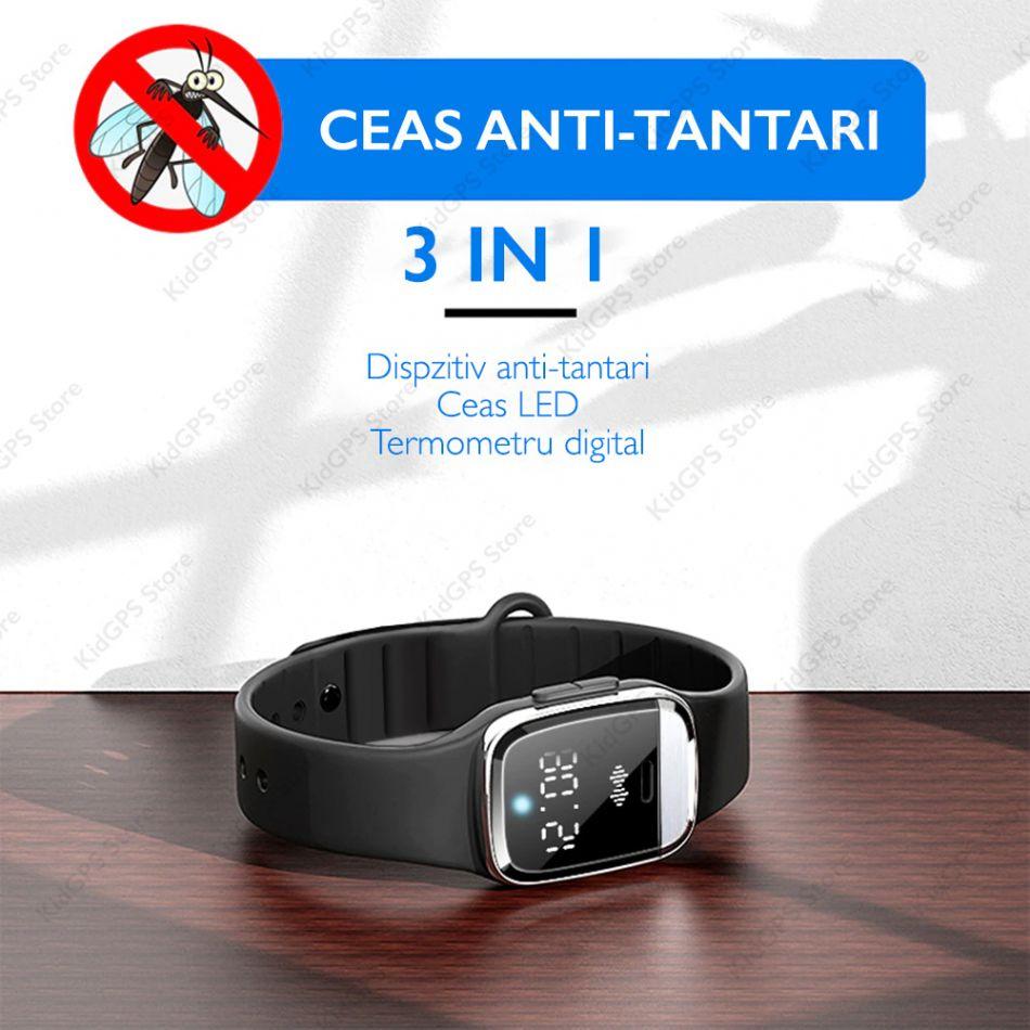 Bratara anti-tantari cu ultrasunete Techone® M20, anti-insecte, cu afisare ceas, termometru corporal, stand-by 130 ore, rezistenta la apa, negru