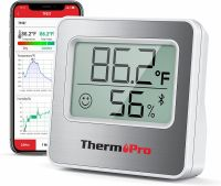 Termometru si higrometru de camera ThermoPro TP-357 Pro, aplicatie bluetooth, lumina, indicator comfort, citire 10s, 2 tipuri de montare, gama profesionala, alb