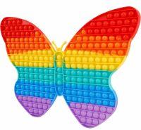 Jucarie antistres, din silicon JAF®, Pop it Now, fluture, mare 30x30 cm, 225 de bule, luminat pe intuneric, multicolor