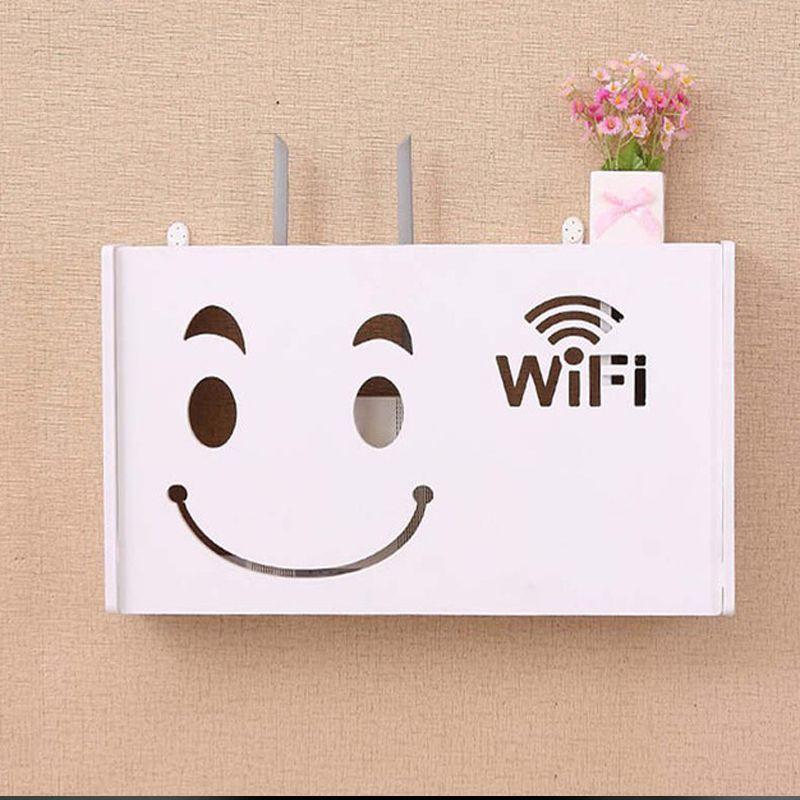 Raft Suport Router Wireless Kidprotect® L 520x250x95 mm, pentru mascare fire si echipament WI-FI, posibilitate montare pe perete, alb