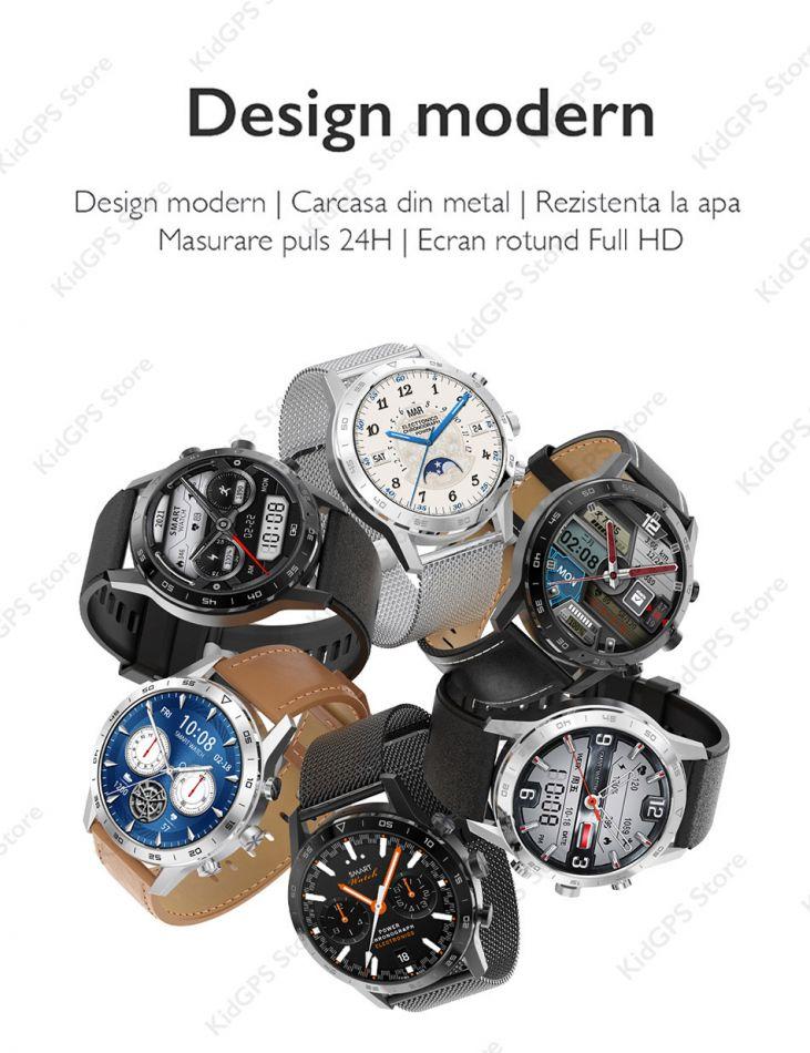 Ceas smartwatch TechONE™ DT70, 1.39 inch IPS HD, multi sport, apel bluetooth 5.0, agenda, ritm cardiac inteligent, EKG, rezistent la apa IP67, difuzor, notificari, vibratii, curea metalica silicon incluse, argintiu