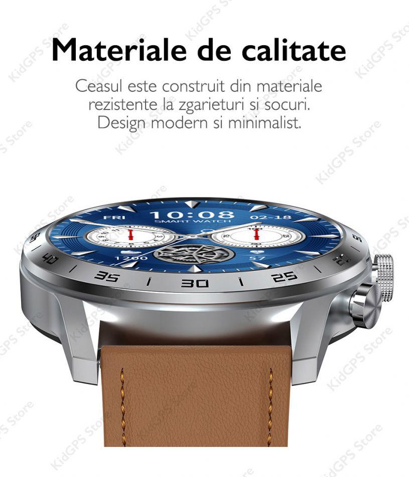 Ceas smartwatch TechONE™ DT70, 1.39 inch IPS HD, multi sport, apel bluetooth 5.0, agenda, ritm cardiac inteligent, EKG, rezistent la apa IP67, difuzor, notificari, vibratii, curea metalica silicon incluse, negru