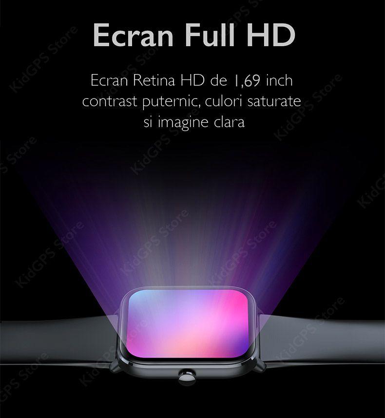 Ceas smartwatch TechONE™ KM04, 1.69 inch IPS, multi sport, refuz apel, ritm cardiac inteligent, EKG, oxigen, termometru, rezistent la apa IP67, notificari, vibratii, roz