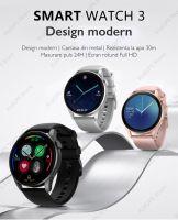 Ceas smartwatch TechONE™ DT3, 1.36 inch IPS HD, multi sport, apel bluetooth 5.0, agenda, ritm cardiac inteligent, EKG, rezistent la apa IP67, difuzor, notificari, vibratii, curea metalica silicon incluse, argintiu