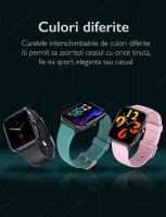 Ceas smartwatch TechONE™ KM04, 1.69 inch IPS, multi sport, refuz apel, ritm cardiac inteligent, EKG, oxigen, termometru, rezistent la apa IP67, notificari, vibratii, negru