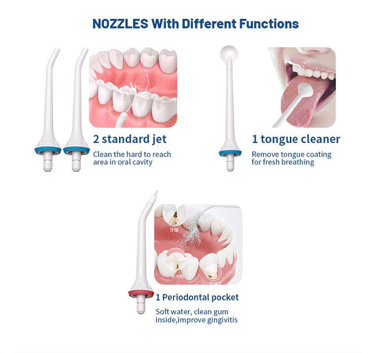 Irigator bucal si oral profesional Horigen® WF201, portabil, 3 moduri de lucru, acumulator 1400mAh, timer, 4 duze functionale incluse, tehnologie Easy-Flow, 300 ml, alb