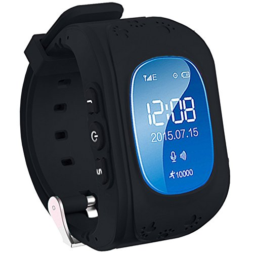 Ceas smartwatch copii GPS Techone™ Q50 cu functie telefon, buton SOS si monitorizare spion, Negru
