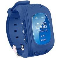 Ceas smartwatch copii GPS TechONE™ Q50 cu functie telefon, buton SOS si monitorizare spion, Bleumarin