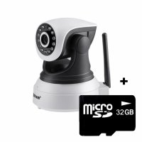 Baby Monitor Wireless Sricam™ SP017, FullHD, 2MP 1080p, video-audio bebelusi, vedere nocturna, sunet bidirectional, push to talk, rotire automata rapida, senzor miscare, alb, pachet bundle (Camera + card 32GB)