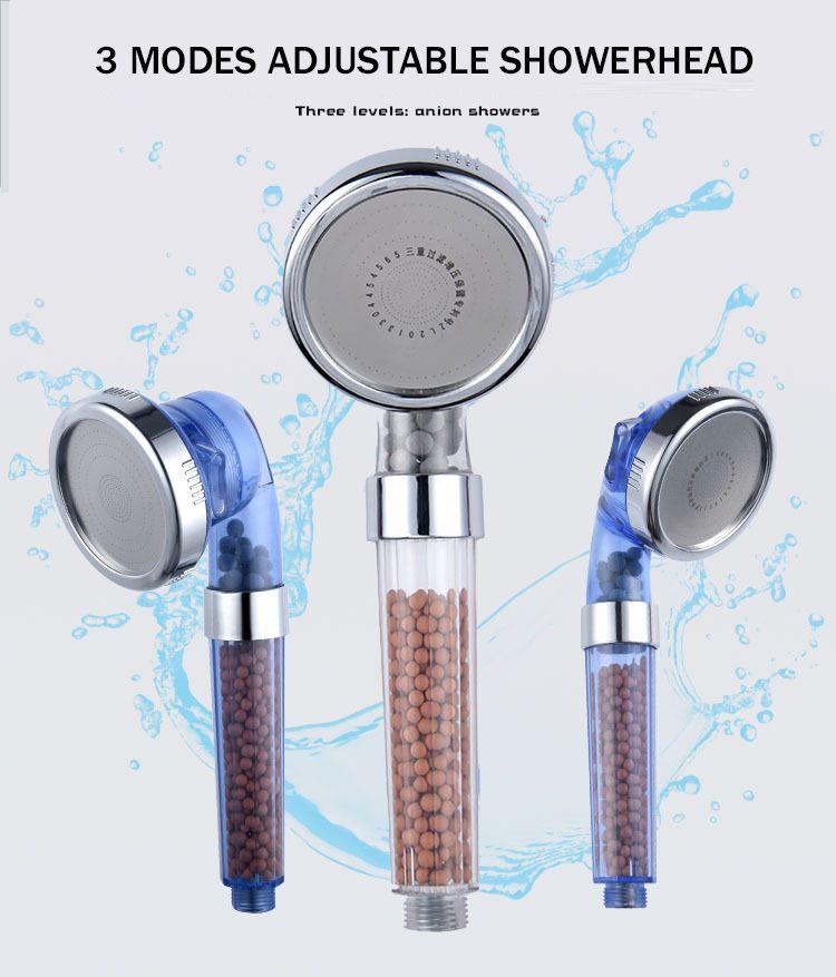 Para cap de dus Topaqua® C193, 3 moduri jet, filtrare dubla, granule minerale, turmalina, economisire apa, jet uniform, argintiu