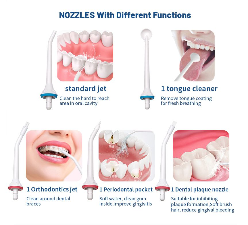 Set 5 capete irigator oral si bucal, Horigen®, normal, curatare limba, ortodontic, periodontal, placa dentara, alb